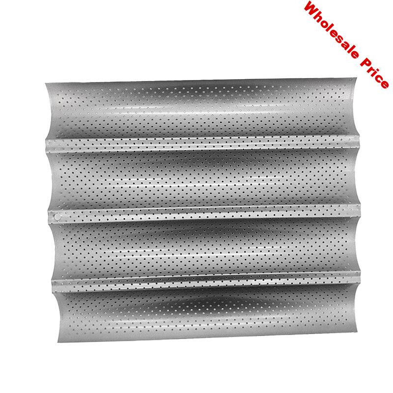 Perforated Baguette Pan for French Bread Baking 4 Wave Loaves Loaf Bake Mold Toast Cooking Bakers Molding Oven Toaster Pan Tray