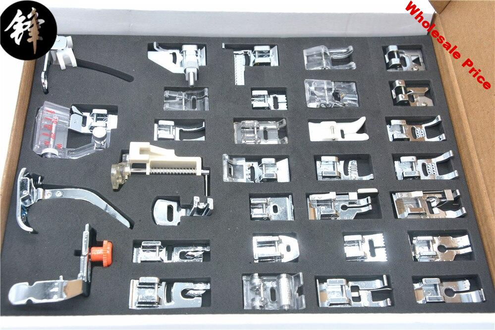 32 PCS Domestic Sewing Machine Braiding Blind Stitch Darning Presser Foot Feet Kit Set With Box Snap On For Brother Singer Set