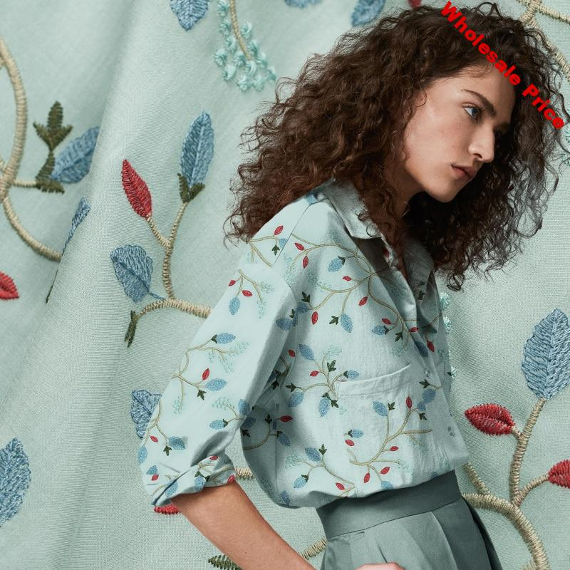 Embroidery blue and red trees and floral pure cotton fabric