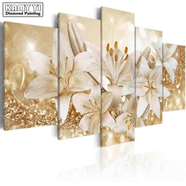 full square drill Diamond embroidery Beautiful lily 5D DIY diamond painting Cross Stitch Multi-picture home decoration