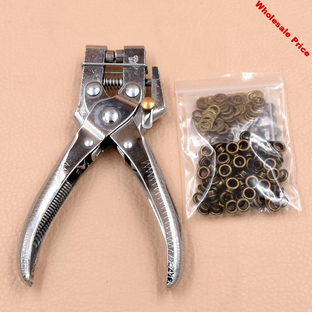 Pliers + 100 sets eyelets.Hollow rivets.5mm eyelets installation tool.4.5MM punching pliers.Labor-saving and silent installation