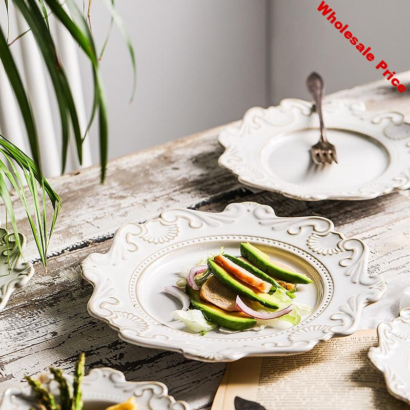 Baroque Dinner Plate Ceramic Cutlery Tray Plate Dish Salad Bowl Soup Bowl White Glaze Wedding Plate Decorations