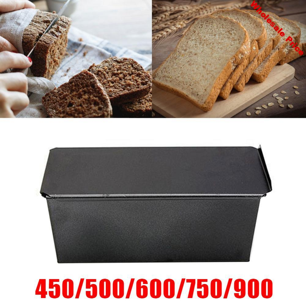 Non-Stick Bread Loaf Meatloaf Pan Black with Lid Iron Toast Mold Kitchen Bakeware French Bread tray Baking Oven Shape Bake Suppl
