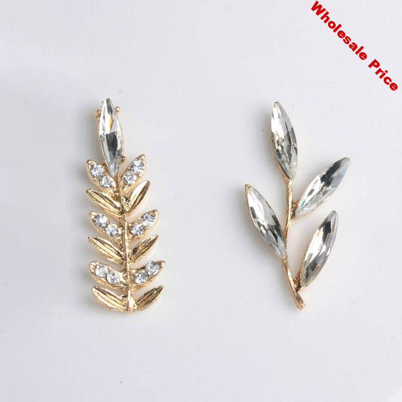 2019New 100Pcs Reed bamboo Rhinestones Branch Leaves Button for DIY hair accessories and wedding Bridal decoration HZ417-HZ418