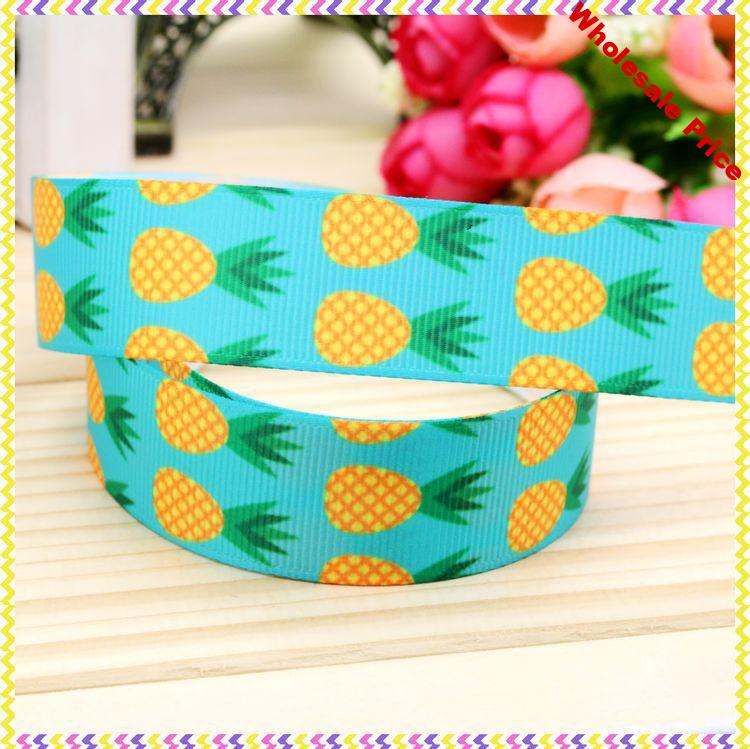 7/8'' Free shipping pineapple printed grosgrain ribbon hairbow headwear party decoration diy wholesale OEM 22mm P4477