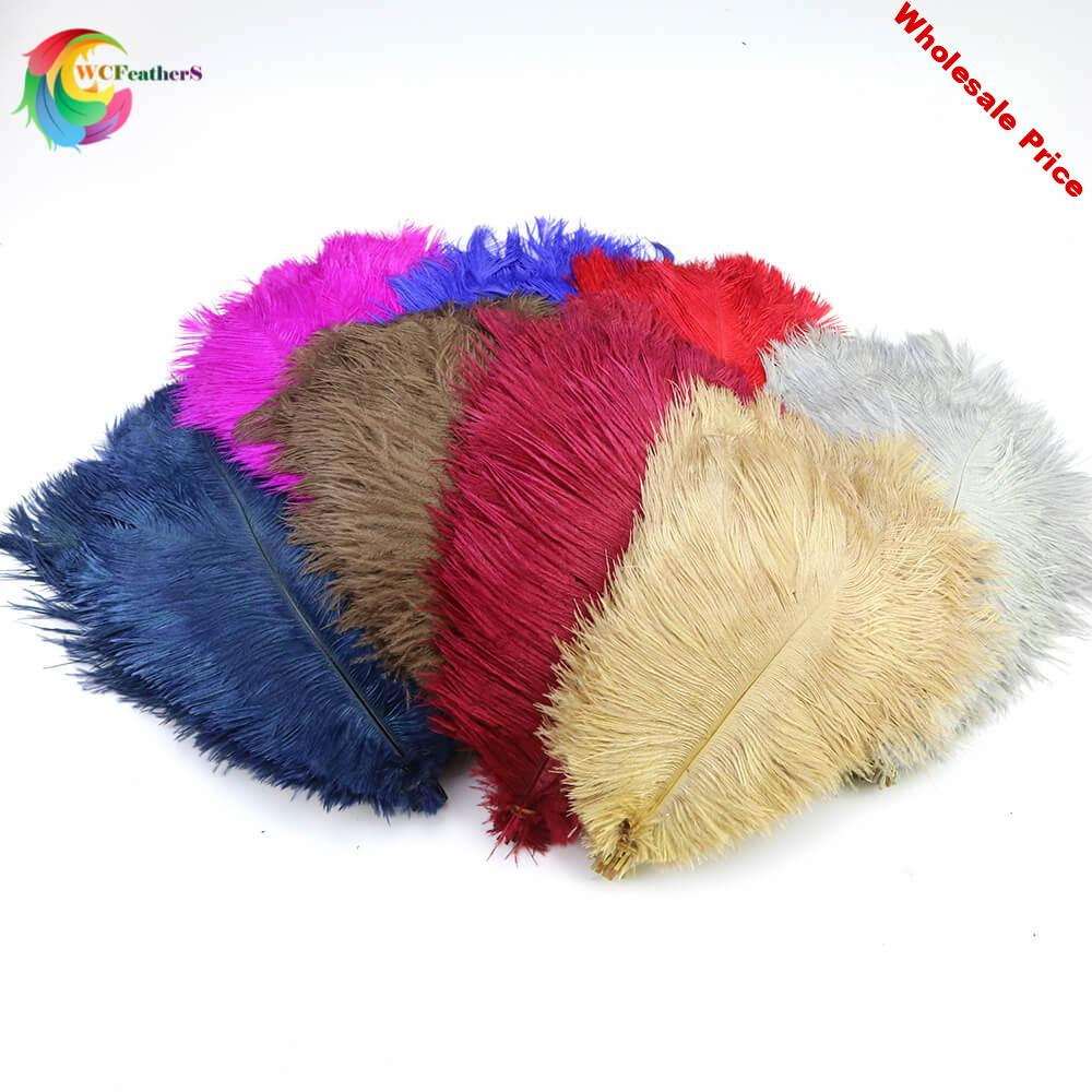 50pcs/lot Dyed Colorful Natural Ostrich Feather 25-30cm DIY Wedding Party Decoration Accessories plume 12 Colors for Select