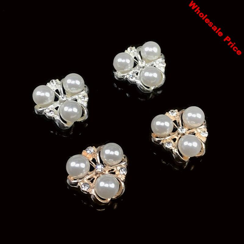 2016New 100pcs Three-Pearl Rhinestone Button for DIY Hair and bags accessories ZJ95
