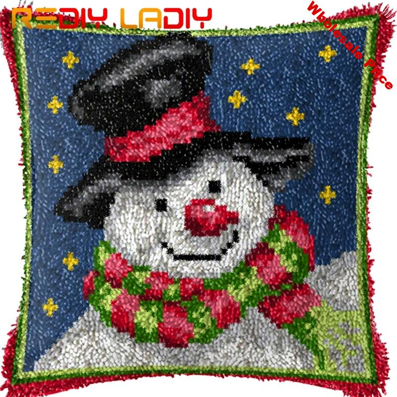 Latch Hook Kit Make Your Own Cushion Snowman Night Pre-Printed Canvas Crochet Pillow Case Latch Hook Cushion Cover Hobby & Craft