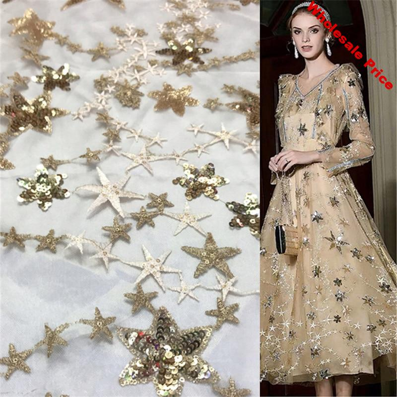 1Yard Sequins Lace Fabric Shining Star Tulle Mesh Fabric For Bridal Gown Dress Clothing Sewing Decorative 91*130cm