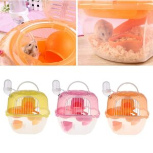 Portable Hamster Travel Carrier Practical Plastic Hamster Cage Durable Hamster Living Habitat House
