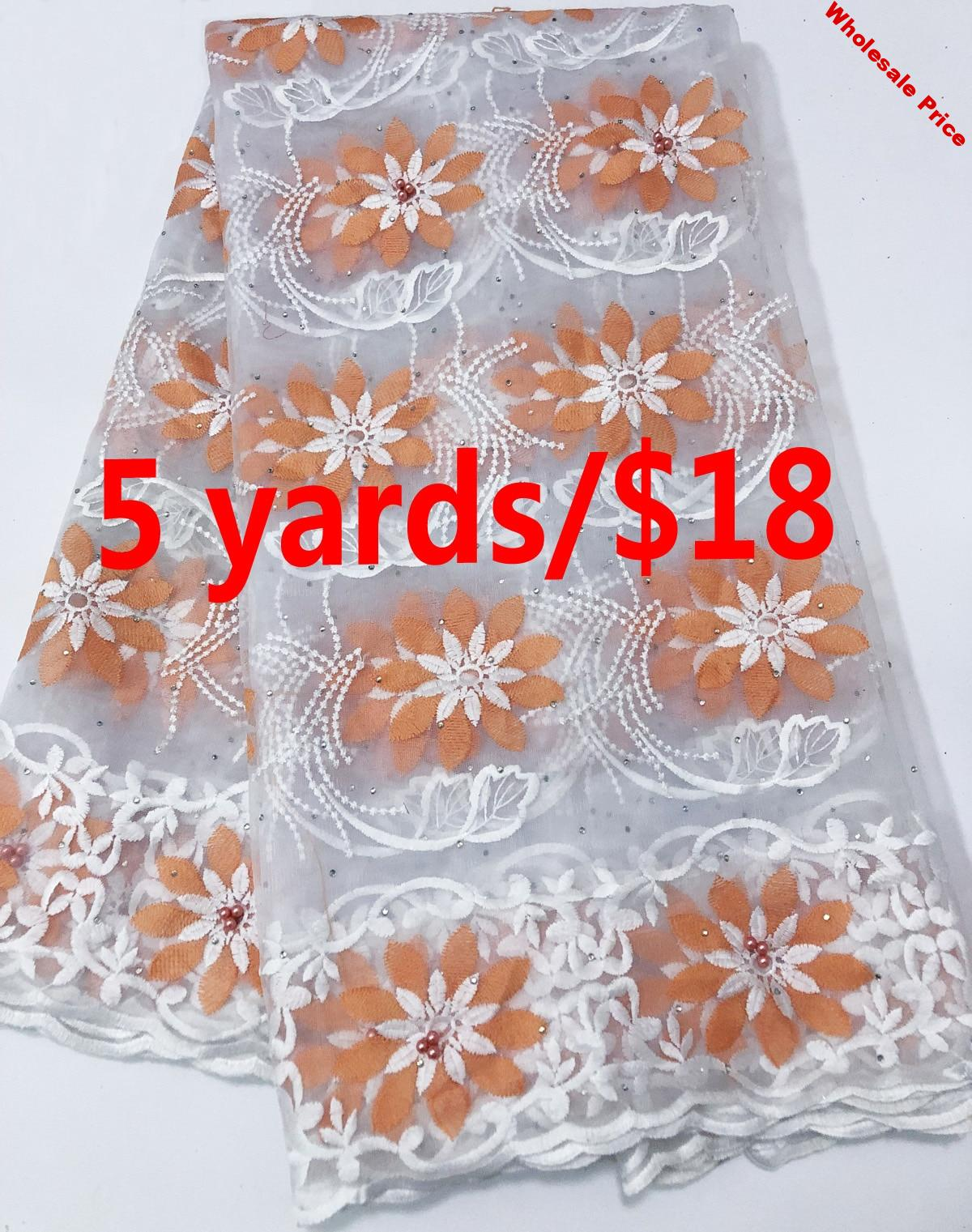 High Quality African French Net Lace Fabric Embroidered Nigerian Lace Fabric 5 Yards Guipure Cord Lace Applique AC88