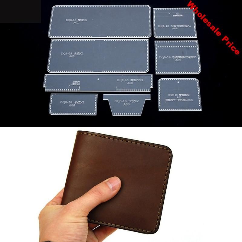 DQB-18 Short Wallet Acrylic Template Wallet Leather Pattern Acrylic Leather Pattern Leather Templates for Bags