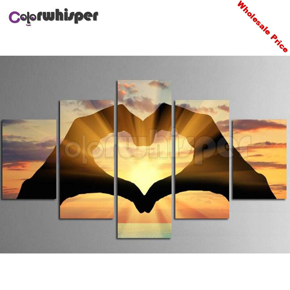 5PCS Diamond Painting Full Square/Round Drill Hand Heart 5D Daimond Painting Embroidery Cross Stitch Mosaic Picture Art Z1350