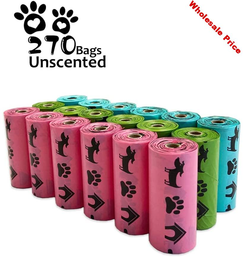 Biodegradable Dog Poop Bags Earth-Friendly 18 Rolls 270 Counts Multipl Colors Blue Green Pink Lavender Scented Cat Waste Bags