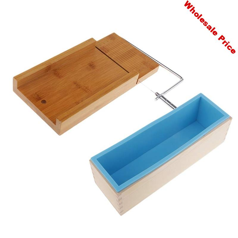 1.2Kg Silicone Soap Making Loaf Mould Silicone with Wooden Box and Soap Cutter with Beveler and Wire Slicer