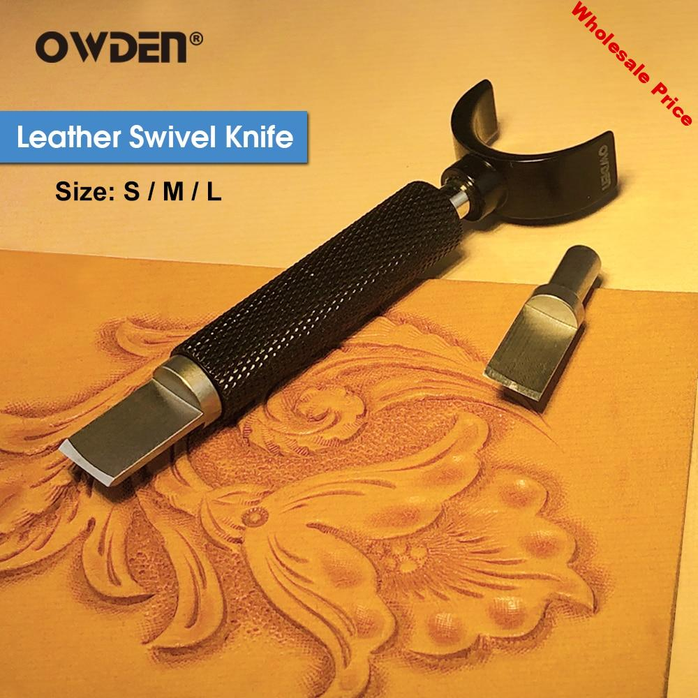 OWDEN Leather Carving Swivel Knife Blade Tools Set Adjustable DIY Manual Rotary Tools  otating Leather Engraving Knife