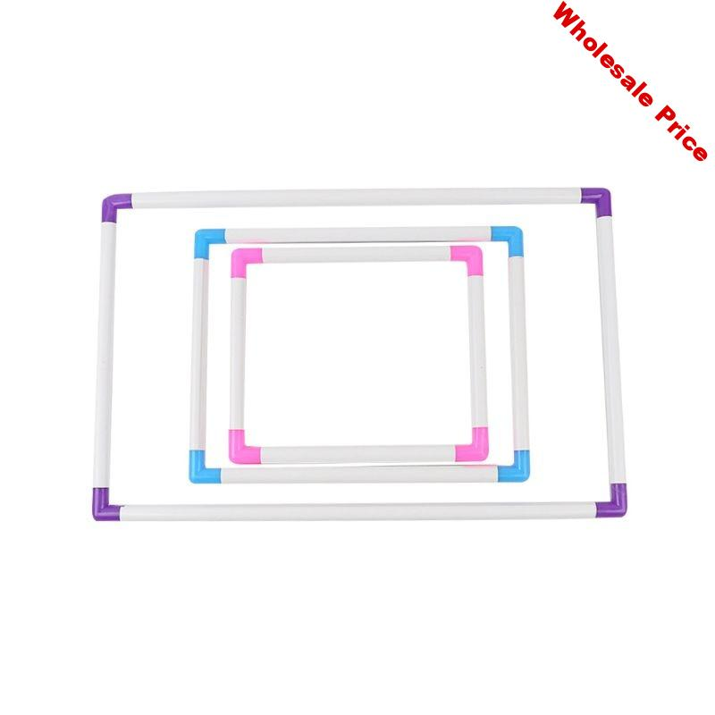 3 Different Size Rectangle Clip Plastic Embroidery Frame Cross Stitch Hoop Stand Lap Tool