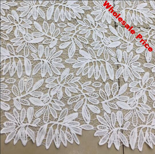 2Yards High Quality White Leaf African Embroidery Water soluble Milk Silk Lace Fabric Guipure Cord Nigerian Wedding Lace Fabric