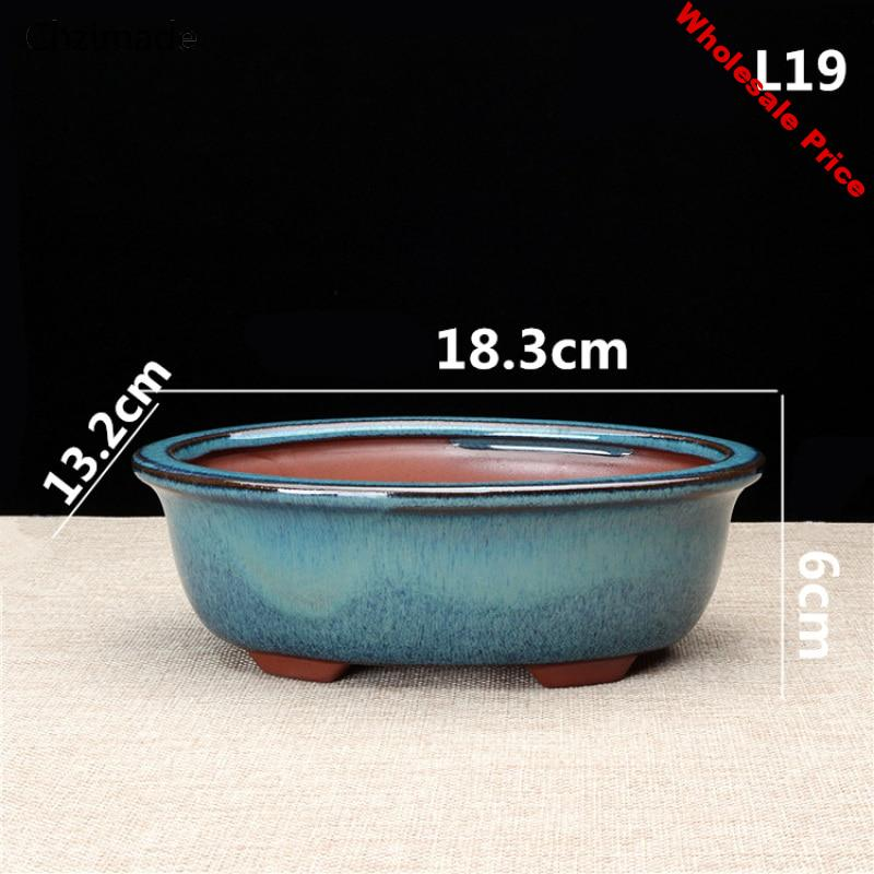 Lychee Life Chinese Ceramic Bonsai Flower Pots Storage Boxes For Flower Green Plants Glazed Pot Planter Diy Crafts Home