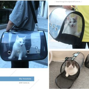 Portable Transparent Travel Pet Bags Cat Carrier Bags Breathable Folding Small Dog Outdoor Single shoulder Bag Pet Carrying