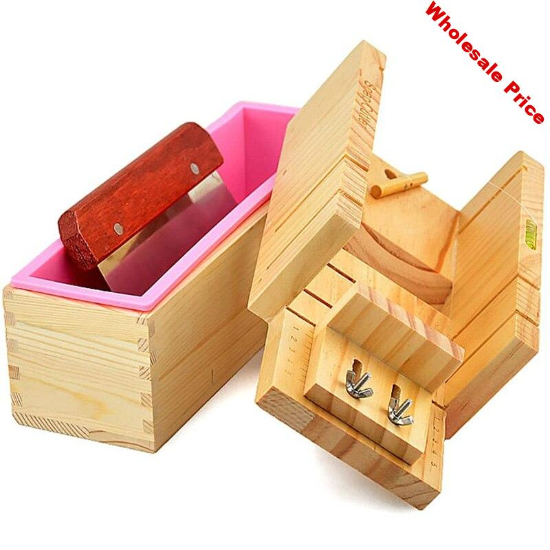 Adjustable Wood Soap Cutter Box Wire Cutter Slicer Rectangle Silicone Soap Loaf Mould