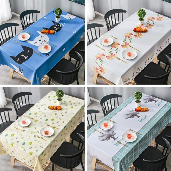 PVC Plastic Rectangle Home Table Cloth Kitchen Oilproof Tablecloth Dinner Party Decor Elegant Waterproof Fabric Table Cover 1Pc