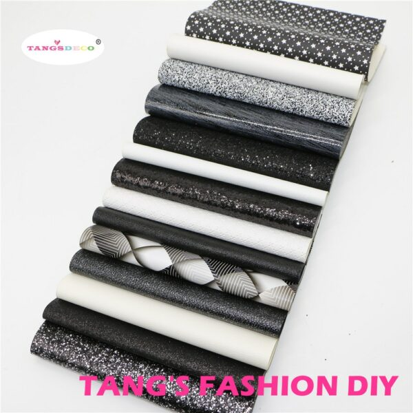 14pcs-High Quality NEW MIX STYLE white and black color mix PU leather set/synthetic leather set/artificial leather