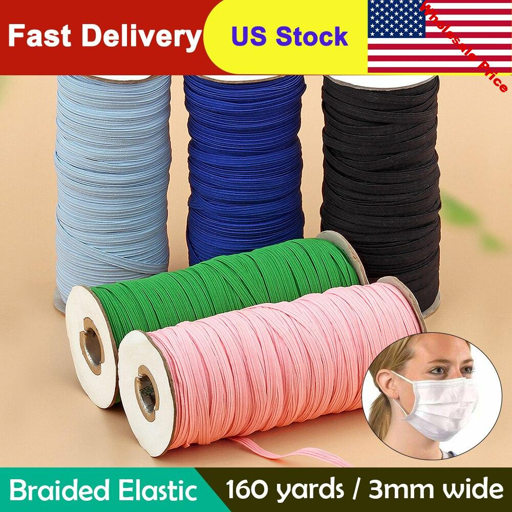 160 Yard 3mm Colorful Mask Elastic Rubber Band Mask Ear Hanging Rope Round Elastic Band DIY Craft Sewing Garment Accessories