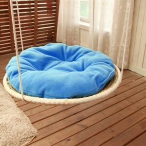 Hand Knitting Round Cat Hammock Bed Straw and Cotton Cloth Cat Hanging Beds Pet Sunny Seat Dog Comfortable Mats Cushions CW045