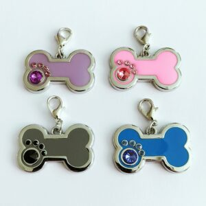 12pcs/lot Pet Dog ID Tag Rhinestone Bone Paw Shaped Personalized Charm tags Pet Collar
