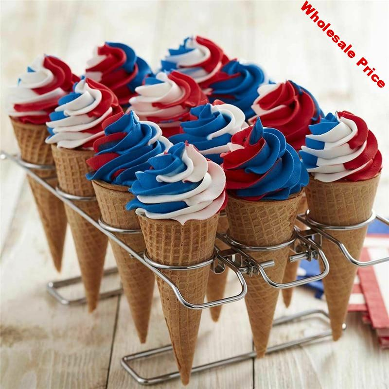 Stainless Steel Ice Cream Cone Display Rack Stand Diy Ice Cream Cone Holders Baking Cake Cone Cupcake Cooling Tray Rack Holder