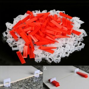 300pcs Plastic Tile Leveling System -200 Clips+100 Wedges Tiling Flooring Tools Wedges Clips