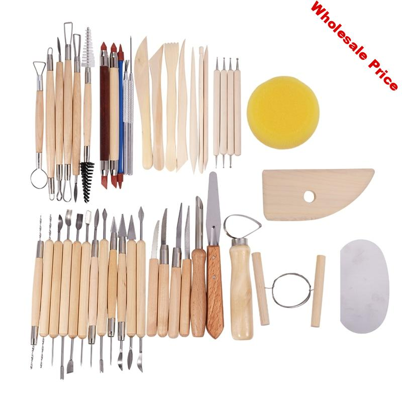 45Pcs Pottery Tools Clay Sculpting Carving Tool Set Contains Most Essential Wooden Clay Tools for Potters