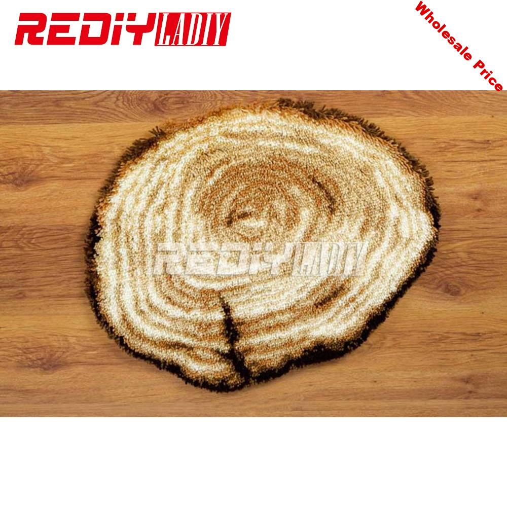 Latch Hook Rug Kits Wooden Surface 3D DIY Needlework Unfinished Crocheting Rug Yarn Cushion Mat Home Decor Embroidery Carpet Rug