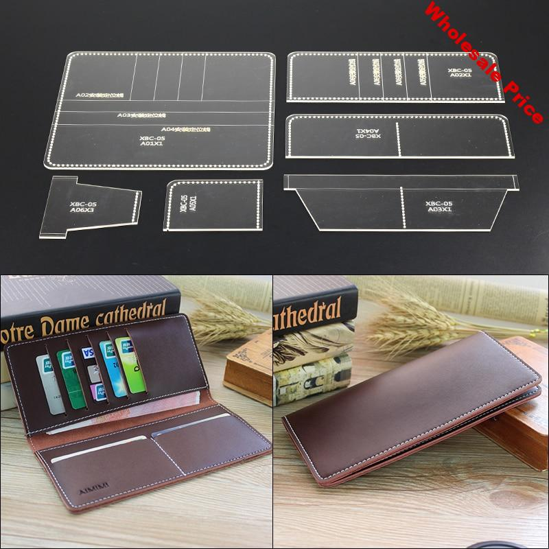 6PCS/SET Acrylic Leather Template Business Long Wallet Template Leather Craft Pattern Stencil Durable Tools for Wallets Making