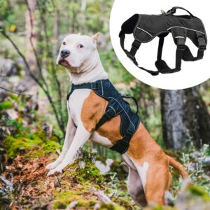 Large Dog Harness Nylon Reflective Pet Big Dog Harness Adjustable No Pull Dogs Vest For Medium Large Dogs Pitbull Bulldog K9