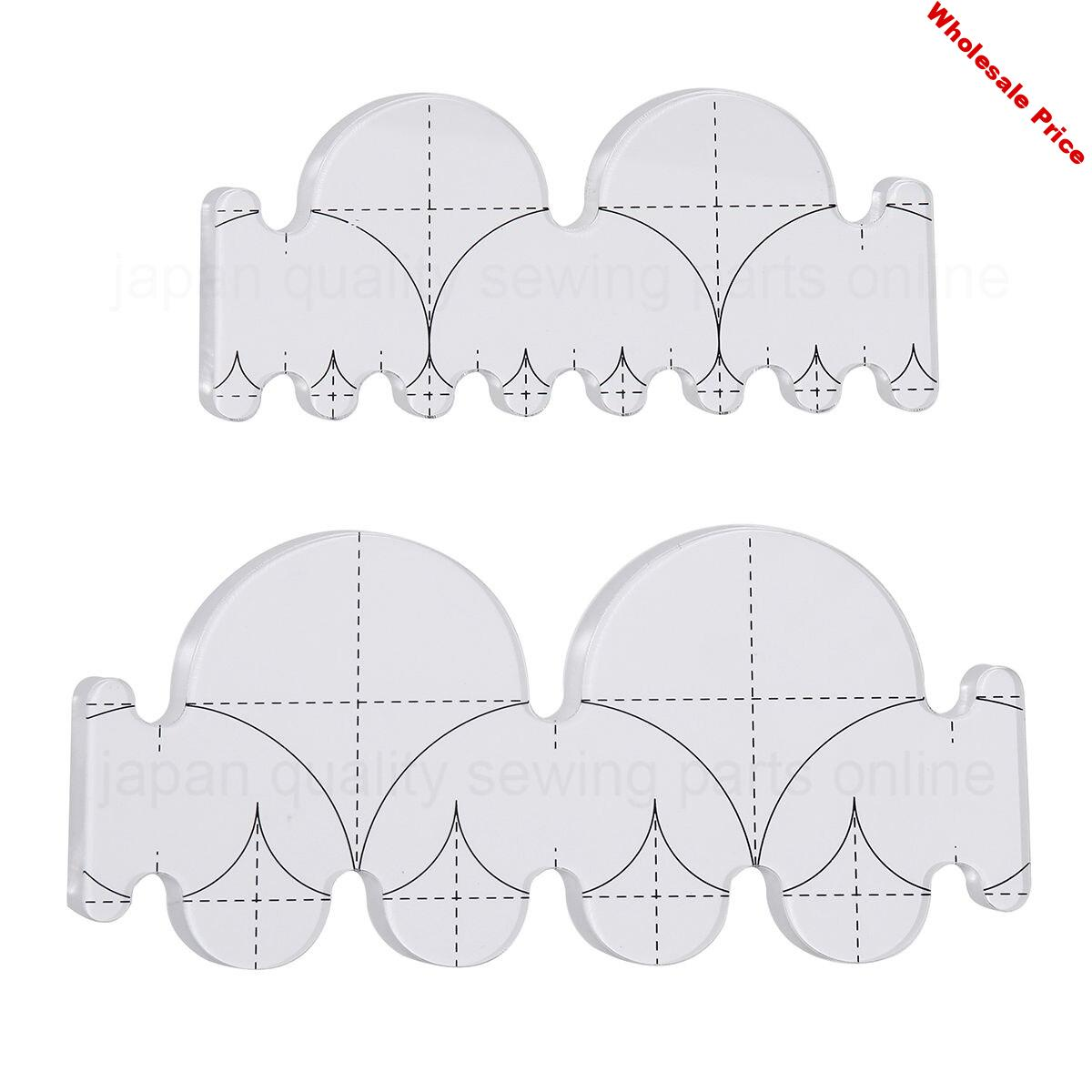 Quilters templates Ruler Clamshell ruler for sewing machine 1set=2pcs #QTSKCL2