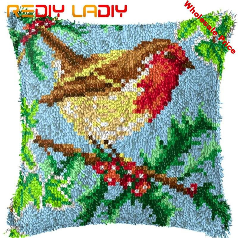 Latch Hook Kits Make Your Own Cushion Robin Tree Pre-Printed Canvas Crochet Pillow Case Latch Hook Cushion Front Hobby & Crafts
