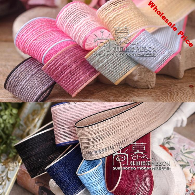 50yards 16/25/40mm stripes cotton flax korean ribbon for hair bow diy accessories bouquet gift packing bow craft supplies