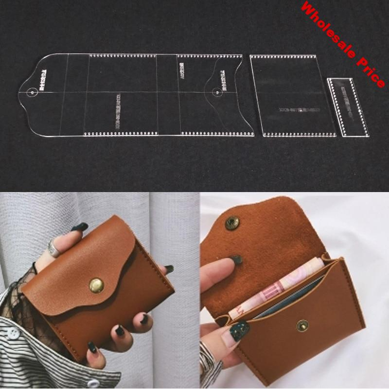 Acrylic Stencil 1 Set Leather Template Home Handwork Leathercraft Sewing Pattern Tools Accessory Men Wallet Pattern 11.5x9.5x2cm