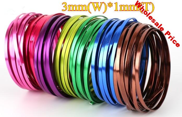 7colors FLAT Anodized Aluminum Wire for Wrapping 3x1mm Flat DIY craft accessory bracelet necklace free shipping 15m