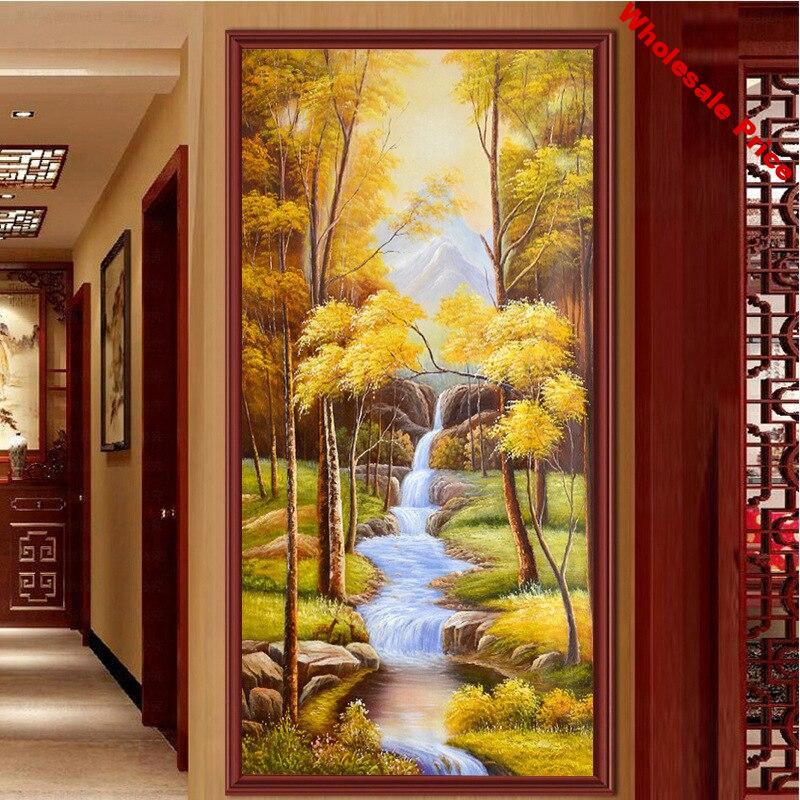 5D Diamond Painting Full Drill DIY Diamond Embroidery Rhinestone Painting Landscape Painting Home Wall Decor Autumn Forest