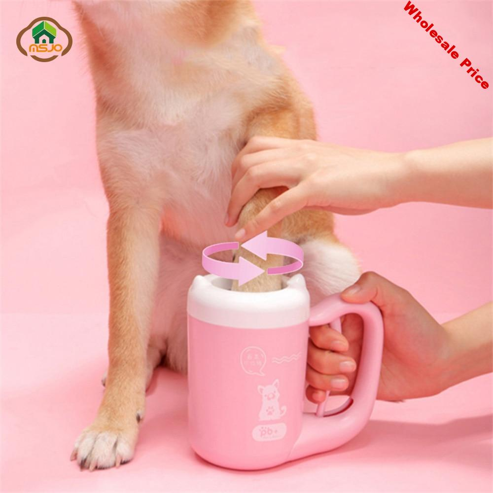 MSJO Pet Cleaning Cup Washing Cat Dog Feet Tool Silicone Cleaner Paw Care Washer French Bulldog Pug Brush Pet Foot Cleaning Cup