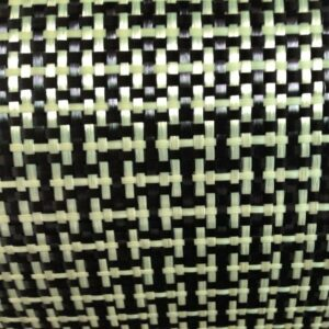 1100D / 3K 200gsm I Weave Yellow Kevlar & Carbon fiber mixed Fabric Plain Hybrid Carbon Kevlar Cloth