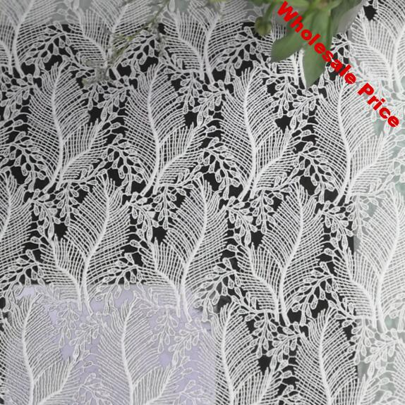 2Yards White Nigerian Lace Fabrics For Wedding Dress High Quality African Cord Lace Fabrics French Guipure Lace Sewing Material