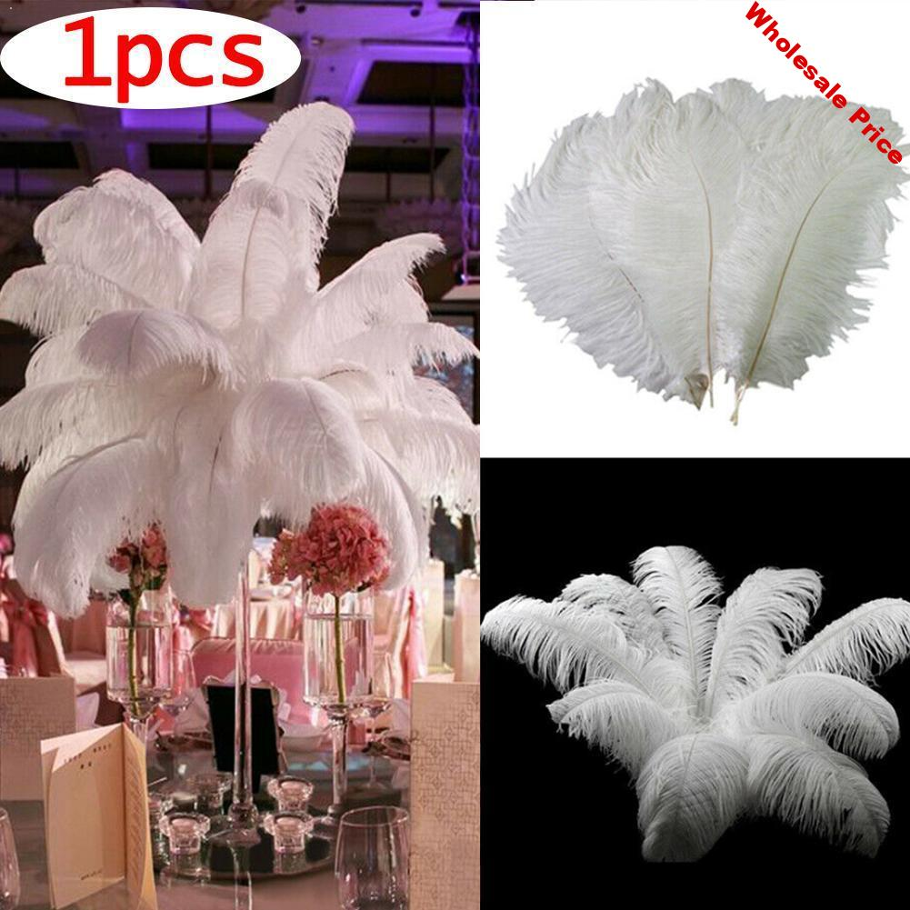 Wholesale 10 pcs/Lot natural White Ostrich Feathers Party Hotel Decorations 30-35cm Jewelry Rod Wedding Feather Plume Hard L8E2
