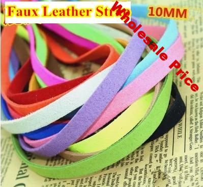 20 colors 10mm faux leather string suede cord/lace/strip DIY thong jewellery necklace bracelet free shipping 20m