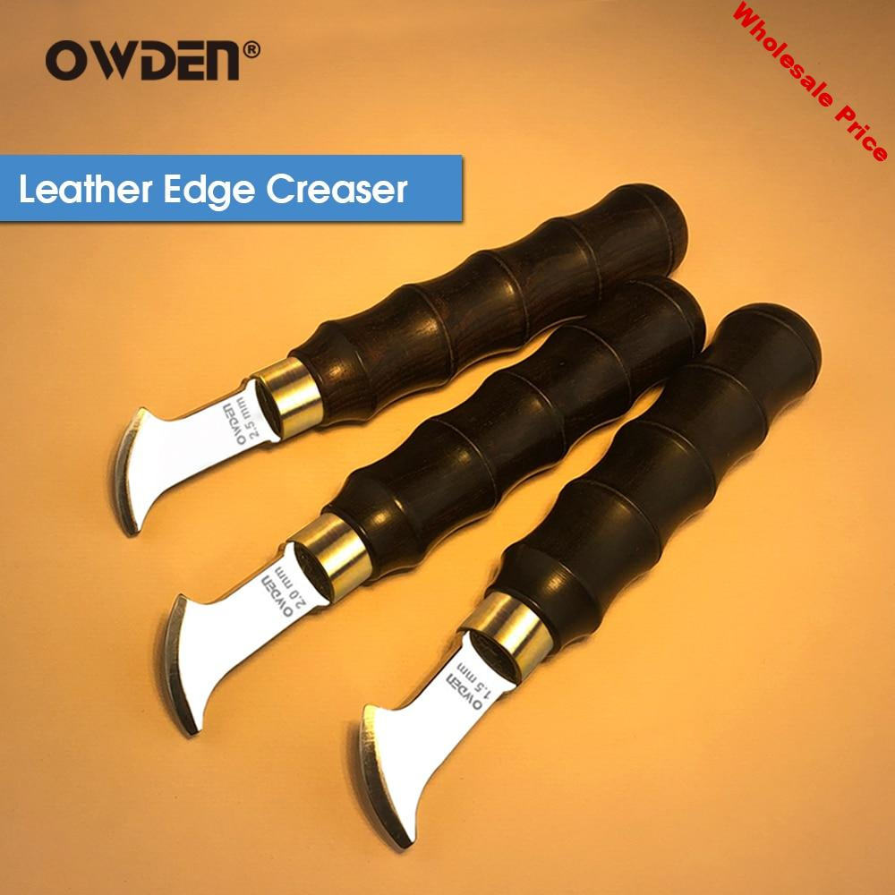 OWDEN Leather Edge Creaser Stainless Steel Marking Trimmer Ebony Handle Tool DIY Leather Edge Tool For Working Decorative Lines