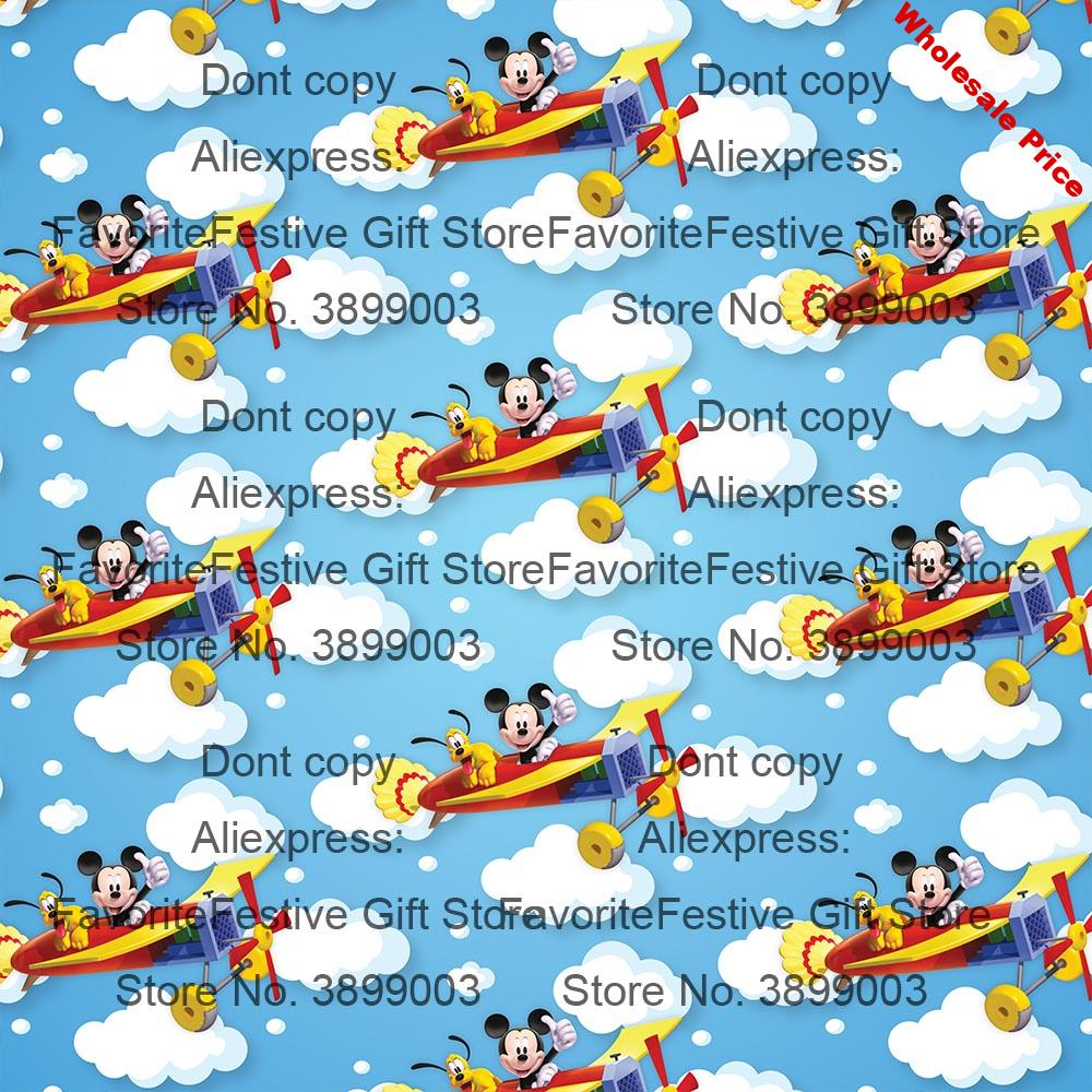 blue sky clouds Mickey Fabric 100%polyster Fabric Printed Head Mickey Fabric Sewing Material DIY Children Baby Clothing
