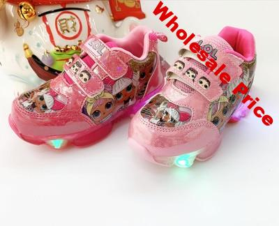 LOL Surprise Doll Girls Shoes Lights LED Cartoon Flashing Women's Sports Shoes Non-slip Children's Shoes Casual Shoes